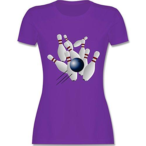 Bowling & Kegeln - Bowling Strike Pins Ball - tailliertes Premium T-Shirt mit Rundhalsausschnitt für Damen Lila