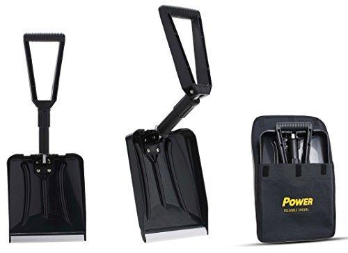 Power Pala Plegable per Nieve - Forma Completamente Plegable 65 cm Longitud Total 32 cm Longitud Compacta...