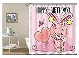 Amody 3D Digitaldruck Kaninchen Herz Happy Birthday Duschvorhang Bad Vorhang Durable Wasserdicht Bad Vorhang Rosa Größe150X180