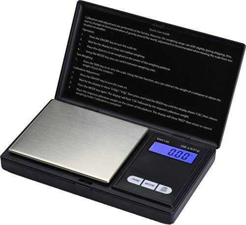 LEVEL25 Báscula digital de precisión, peso máximo 100g, sensibilidad 0.01g, con pantalla LCD y plataforma de acero inoxidable