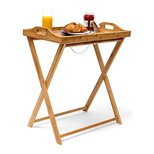 Relaxdays Tabletttisch Bambus HxBxT: ca. 63,5 x 55 x 35 cm Beistelltisch mit Tablett für Frühstück und mehr Klapptisch Plus Küchentablett als Serviertisch, Serviertablett Butler Tisch aus Holz, Natur (Küche Trolleys)