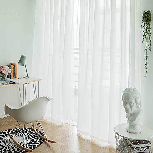 JRG Wohnzimmer Schiere Schleier, Weiß Segel-Platten Vorhänge Suchen Transparent Gardinen Fenster Vorhänge 1 Platten Semi-transparent Dick Elegante Zuhause Dekor-a W:350cmxh:270cm (Schiere Platten Weiß Vorhang)