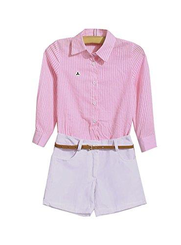 Yoliki Britischen Stil Mädchen Kleidung Set inklusive Gestreifte Bluse und Shorts (Britische Kleidung)