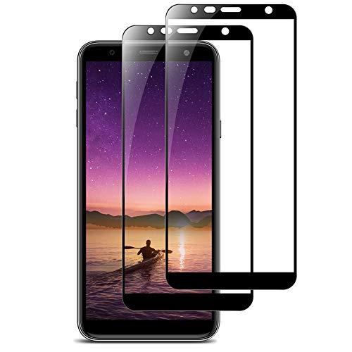 Bigmeda Panzerglas Folie für Samsung Galaxy J4 Plus/J6 Plus, [2 Stück] Full Cover Samsung J4 Plus Schutzfolie, 9H Härte, Ultra-klar, Blasenfrei, Panzerfolie Bildschirmschutz Für Galaxy J4+/J6+, Schwarz