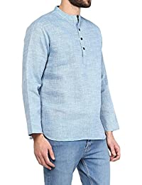 VIVIDS INDIA MEN'S Cotton Linen Short Kurta (Blue , G-141 - $P)
