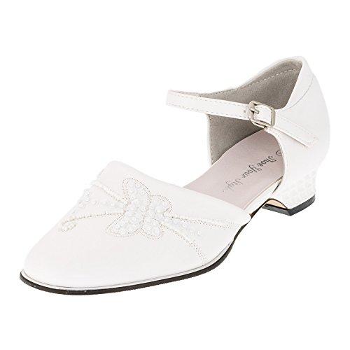 Shoe Your Style Festliche Damen Mädchen Schuhe Pumps Ballerinas Absatz Perlen Schmetterling M417ws Weiß 35