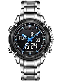 Naviforce Shadow Screen Silver Chain Blue Highlight Analog & Digital Wrist Watch for Men & Boys (NF9050_S/B/BE).