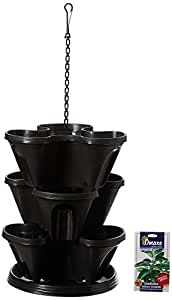 Gardens Need Plastic Stack-A-Pot Hanging Set (Black, 5-Pieces)
