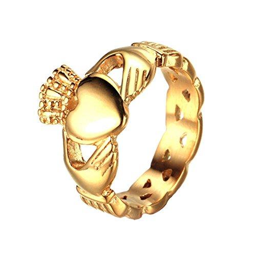 Billig Männlich Ringe Versprechen (UM Schmuck Klassische Edelstahl keltisch Claddagh Herz Krone Liebe Herren Ringe Gold Ton)