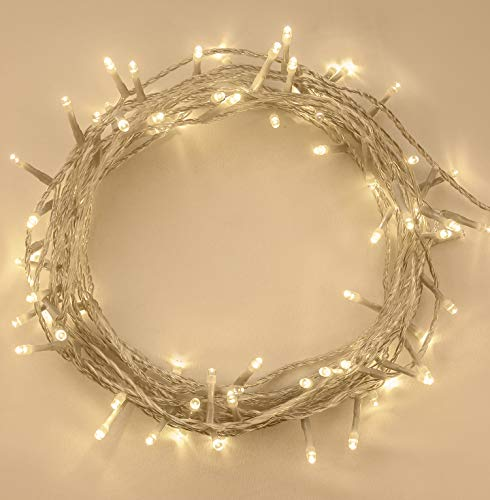 Christmas Lights, 100 LED Warm White Tree Lights Indoor and Outdoor use Christmas String Lights with Memory function, Mains Powered Fairy Lights 10m/33ft Lit Length CLEAR CABLE