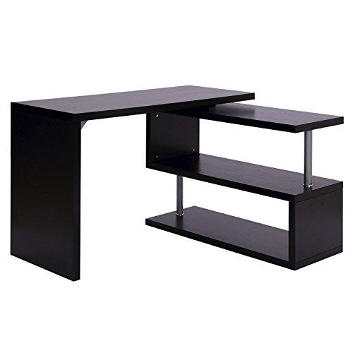 Homcom scrivania angolare per computer con scaffali legno 120 x 106 x 75cm nero