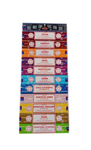 Satya Räucherstäbchen X 15g: Nag, die Oodh, Super Hit, Positive Vibes, Namaste, Champa, Opium, Reiki, spirituelle Heilung, Karma, traditionelle Ayurveda, Meditation, 12Packungen (Stick Sie Füllen)