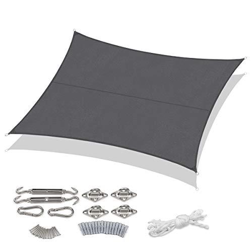 Sekey Sonnensegel Sonnenschutz PES Windschutz Wetterschutz Wasserabweisend Imprägniert 95% UV Schutz für Garten Outdoor Terrasse Camping Party, mit Seilen und Befestigung, 3 × 4m Anthrazit