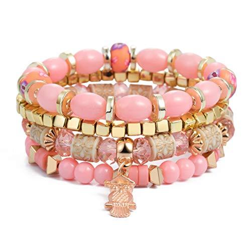 er,Fashion Vintage Multilayer Große Perlen Armbänder Boho Armband Armreifen Für Frauen Schmuck Armbänder ()