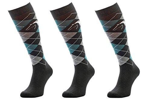 Comodo 3 Paar Bequeme Langlebige REIT-Socken 82% Baumwolle | REIT-Strümpfe | Knie-Strümpfe | Socken | Karomuster | Antibakteriell 39-42 Cotton - Schwarz/Gray/Green