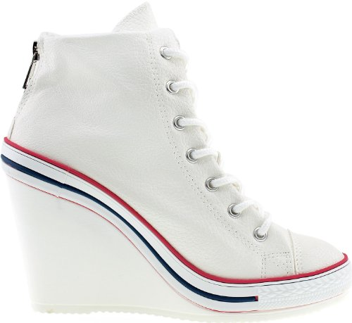 Fermeture Éclair arrière Maxstar 777–Wedge-chaussures à talons Blanc - TC-White