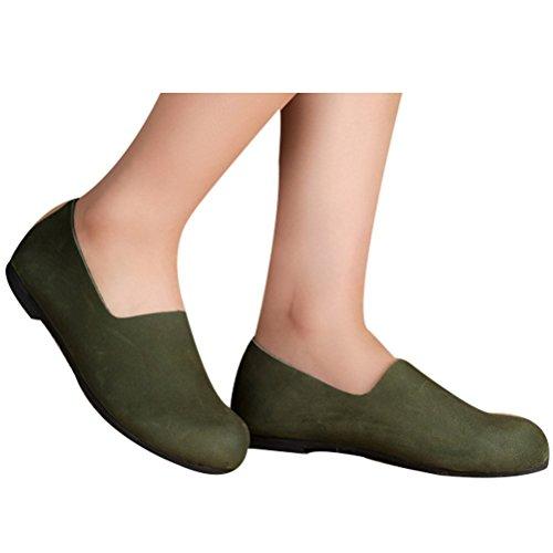 Vogstyle Damen Neuen Leder Flache Schuhe Plain Farbe schwärzlich grün-Art 3