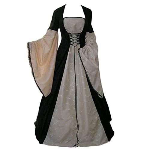 GladiolusA Vestito Cosplay Medievale da Donna Vittoriano Abito da Sera Lungo retrò Costume di Halloween Pink S