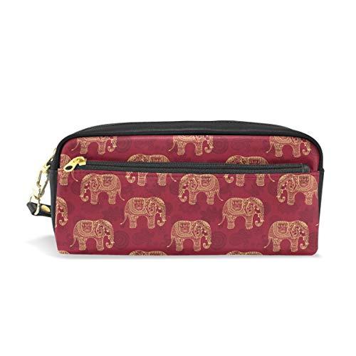 Estilizado Elefants Patrón Elefante Estuche de Lápiz de Cuero de LA PU...