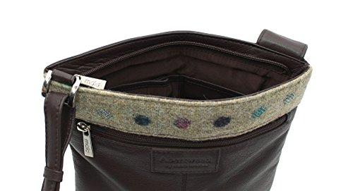 Pelle di Mala ABERTWEED collezione Leather & Tweed Croce Body Bag 752_40 prugna Spot: Brown Spot