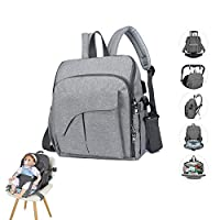 YGZN Nappy Changing Bag,Diaper Backpack with Baby Seat,Baby Nappy Changing Bag Multi-Function Waterproof Mummy Bags with USB Charging (Grey)