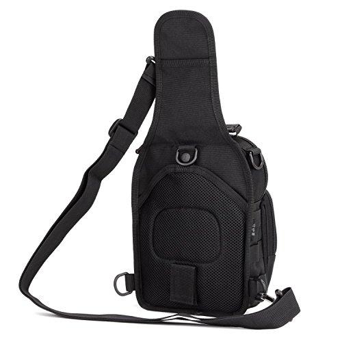 Unisex Borsa Monospalla Sling Pacco Petto Zaino Tattico Militare Porta Tablet Outdoor Borsa Messenger per Sport Campeggio Caccia Escursionismo Ciclismo Casual, Nero Nero