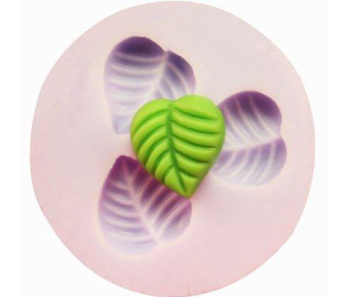 Allforhome 3-er-Silikon-Form zum Backen und Basteln, Mini-Blatt, für Zuckerguss- / Kuchen-Deko, Gießharz, Fondant, 1,3cm