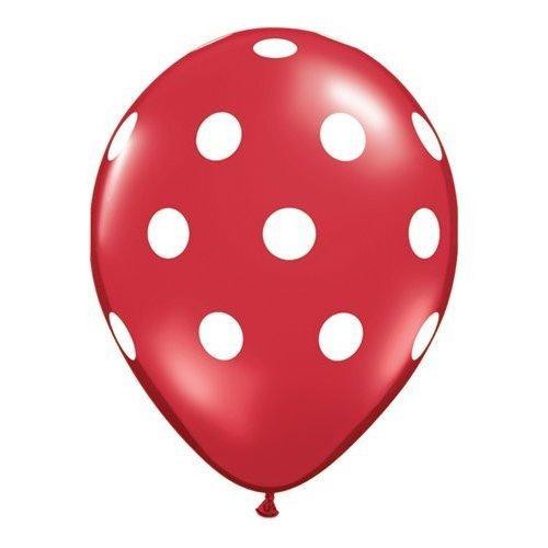 Onyx schwarz Polka Dot Weiß Spots 11Latex Ballons x 5 rot