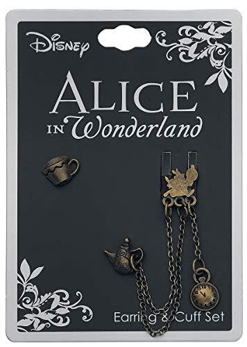 Alice im Wunderland Tea Time Ohrstecker goldfarben