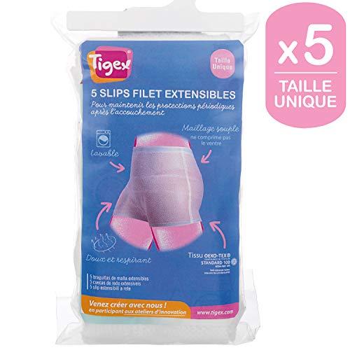 Tigex - Pack de 5 bragas de malla extensible, talla única, color blanco
