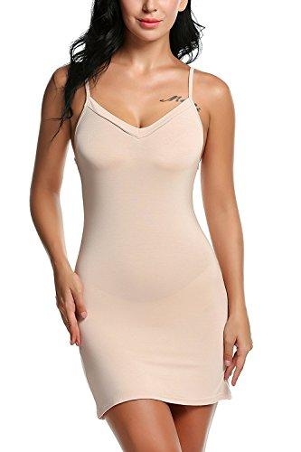 Avidlove Damen Unterkleid Frauen Unterröcke Nachthemd Nachtwäsche sexy Negligee Miederkleid mit Trägern Shapewear kleider,XL(EU 48-50), Aprikose
