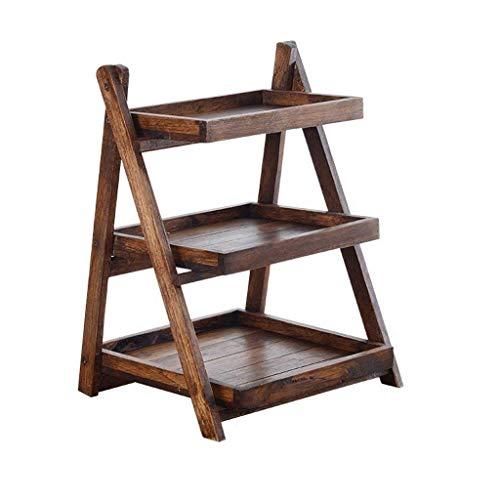 MEOZ Einfache Haushalt Lagerung Halter 3-Tier Holz Klappablage Wc Bad Wc Rack Floor Körperpflege Regal, Braun 32 cm * 41 cm