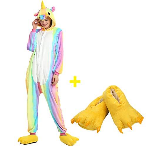 Mescara pigiama animali cosplay intero unisex costume halloween carnevale festa donna uomo animale sleepwear (alto 168-178 cm, arcobaleno e pantofole)