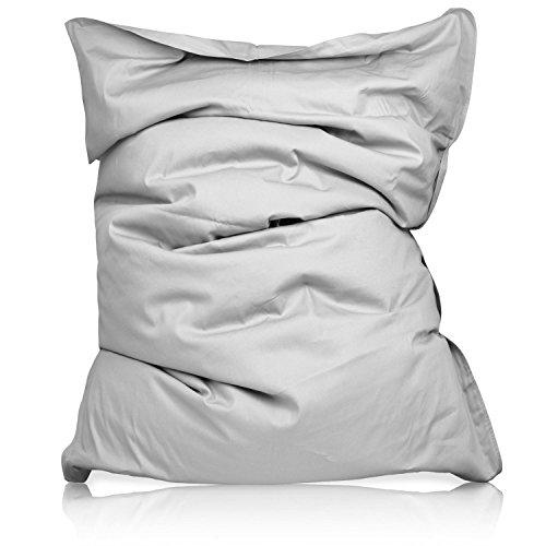 Lumaland luxury poltrona sacco xxl pouf puff ultra morbido in cotone 380l misure 140 x 180 cm per interni grigio