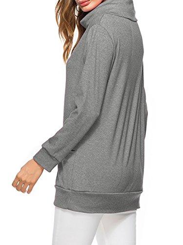 Pulls femme Col roulé femme hivers Tops manches longues T-shirt Grand taille Sweat shirt Lâche Couleur unie Deux poche Coton Gris