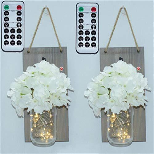 2 Vase (bloatboy Wandleuchte Dekor, 2 STÜCK LED Lichterkette Vase Batterie Licht Mit Fernbedienung Rustikale Wohnkultur Wand Dekorative (Weiß))
