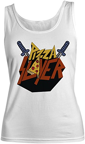 Pizza Slayer Divertente Food Sarcastic Donna Tank Top Canotta Bianca X-Large