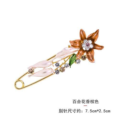 Hochwertige Blumenbrosche Original Malerei Öl Tulpe große Brosche Hochzeit Kleid Pin Schal Schnalle, Lilie Champagner