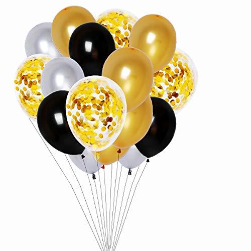 BRT 12 Zoll Gold Konfetti Luftballons Set (55 Stück), schwarz und Gold Luftballons Party Balloons für Geburtstagsfeier, Junggesellenabschied, Hochzeit, Baby Shower Party Dekorationen
