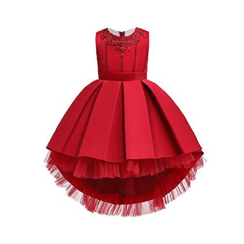 Klavier Fancy Dress Kostüm - TAAMBAB Kinder Bestickte Kleid Catwalk Blumenmädchen Schleppende Prinzessin Kleid Flauschige Kleine Hostie Klavier Kostüm