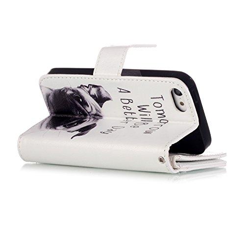 Beiuns Étui en Simili cuir pour Apple iPhone 5 5G 5S / iPhone SE (4 pouces) Housse Coque - N196 Motif léopard + papillon N204 Chien triste