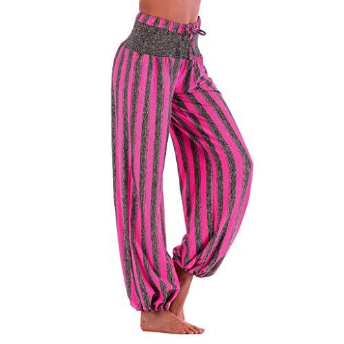WOZOW Damen Hosen Vertical Striped Streifen Gestreift Loose Long Aladdin Indian High Waist Elastisch Straight Leg Yoga Trousers Übergröße (2XL,heißes ()