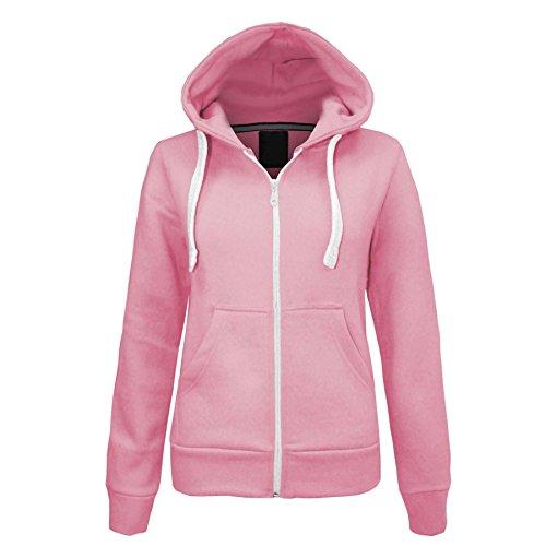 Womens Ladies Plain Malaika Hoodie Long Sleeve Hooded Zip Up Draw Strings Pockets Girls Fleece Sweatshirt Coat Jumper Jacket UK Plus Size 8-27 S-8XL Test