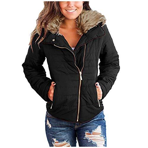 GNYD Damen Mantel mit Kapuze Winter Warm Mode Verdicken Zip Steppjacke Revers Solid Oberteile Coat -