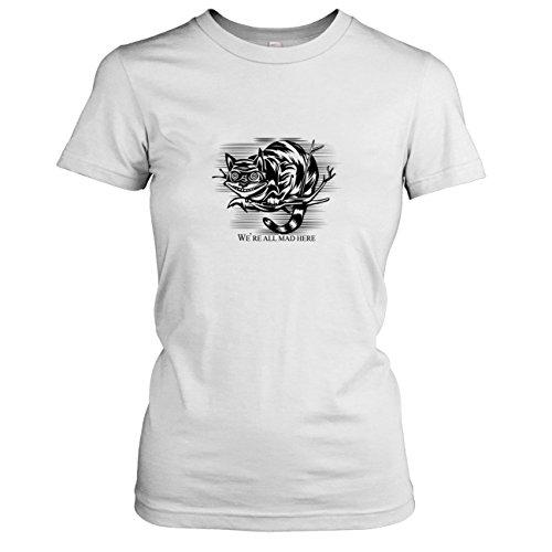 TEXLAB - Mad Here - Damen T-Shirt, Größe XL, weiß (Alice Madness Returns Kostüme)