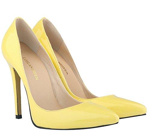 Wealsex Elegante Bonbonfarben Stiletto Damen Pumps Stiletto High Heels 2017 Frühling und Sommer Schuhe Gelb