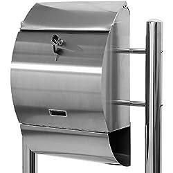 Maxstore STILISTA Hochwertiger V2A Edelstahl Standbriefkasten mit Zeitungsfach, unterschiedliche Designs, Höhe 120-144cm, Schwere Qualität (6-8kg) - 40100021
