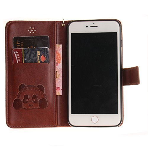 Custodia per iPhone 7 Plus in Pelle,SKYXD Cover per Apple iPhone 7 Plus Custodia Flip Libro 360 Gradi PU Wallet / Porta Carte / Chiusura Magnetica Case Caso di Morbida Colorato Panda Designi PU Portaf Marrone