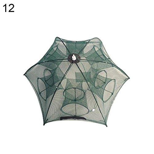 yeshi Automatische Faltbare Angeln Net Minnow Garnelen Käfig Nylon Crab Fischfalle Netzwerk, grün, 12 (Minnow Net)
