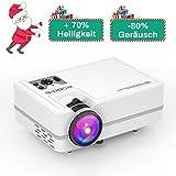 WONNIE Mini LED Beamer, Echte 2200 Lumen, Video Projektor mit 1080P FullHD Unterstützung, kompatibel zu iPhone / iPad /
